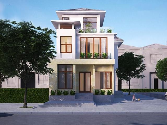Bản thiết kế biệt thự phố 2 tầng đẹp – sang – chuẩn mệnh Thổ