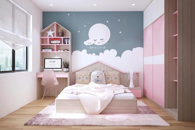 Mẫu tranh gián tường dễ thương cho bé gái