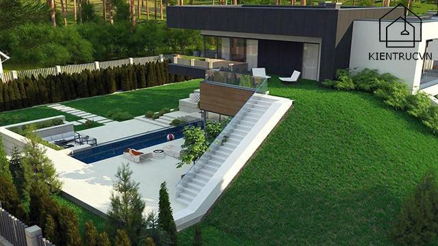 Đẳng cấp sang trọng với thiết kế biệt thự 2 tầng có bể bơi