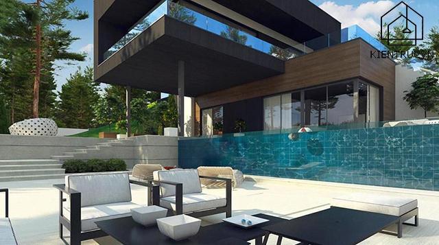 Mẫu thiết kế biệt thự 2 tầng có bể bơi cho bạn cảm giác tận hưởng tuyệt vời