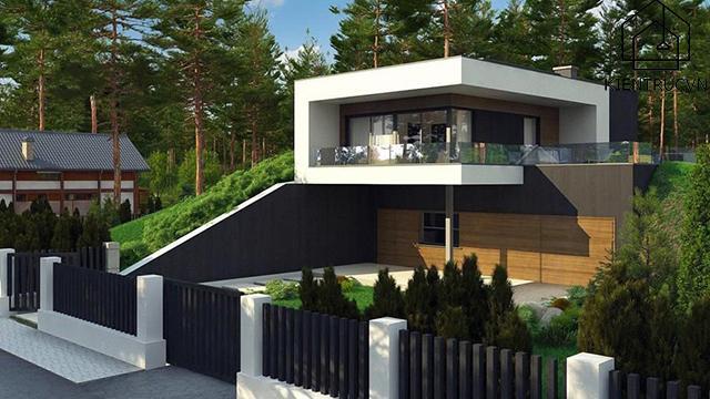 Mẫu thiết kế biệt thự 2 tầng có bể bơi siêu sang