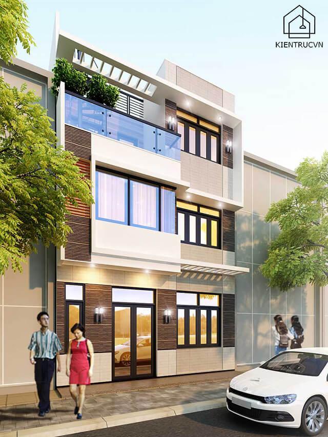Nhà phố 3 tầng sang trọng nhờ thiết kế đơn giản