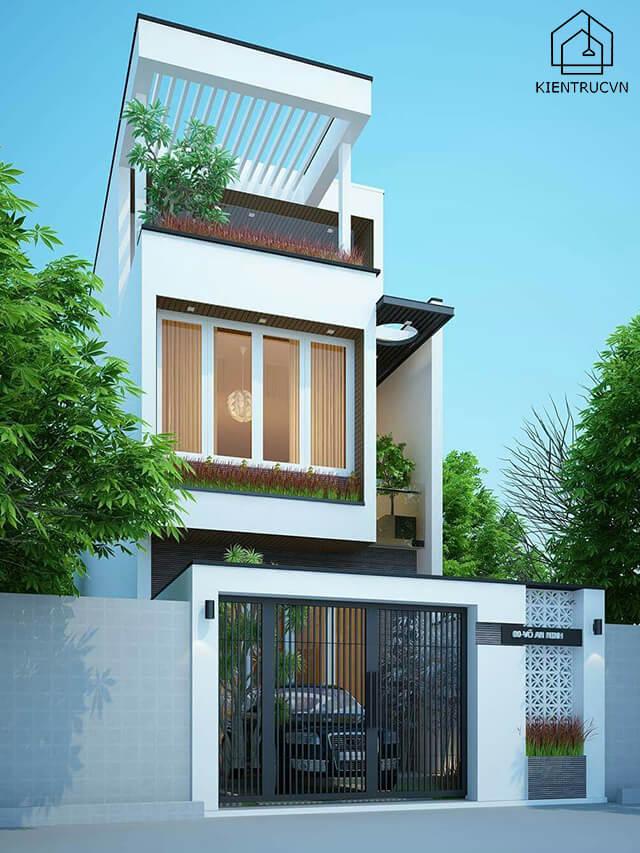 Mẫu thiết kế nhà phố 5×20 3 tầng – Mẫu 2