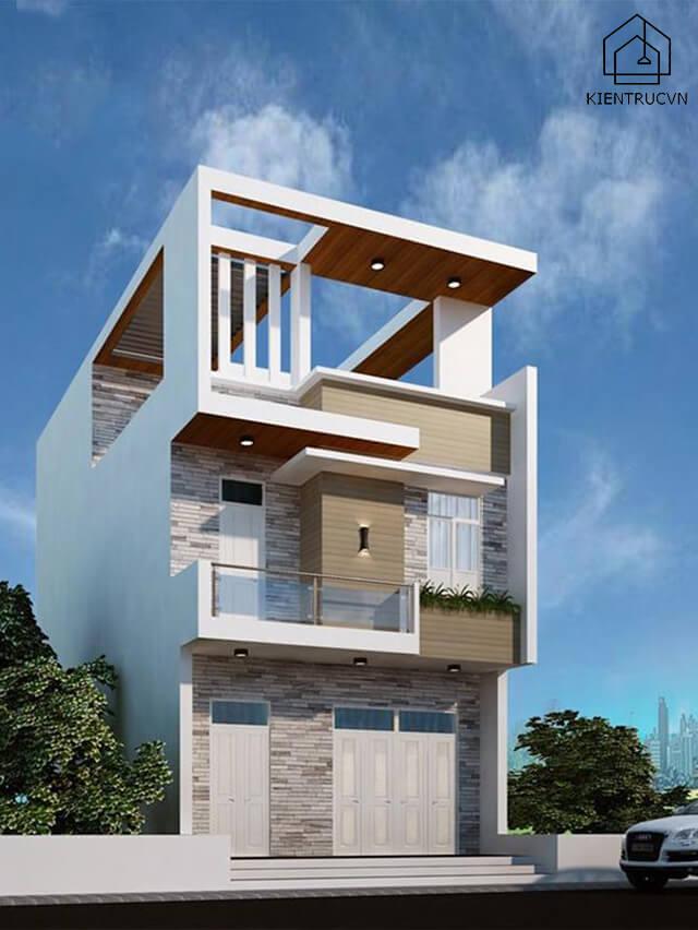 Thiết kế nhà phố 3 tầng mặt tiền 7m với các hình khối tạo cho ngôi nhà cảm giác khỏe khoắn