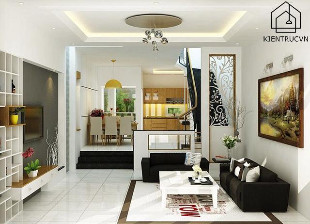 Phòng khách nhà phố hiện đại 5m mặt tiền vừa đẹp vừa sang