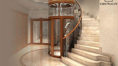 Mẫu thiết kế nhà phố có thang máy ở giữa thang bộ