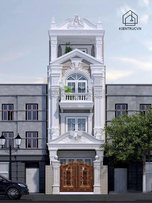 Nhà phố 4 tầng thiết kế theo phong cách cổ điển