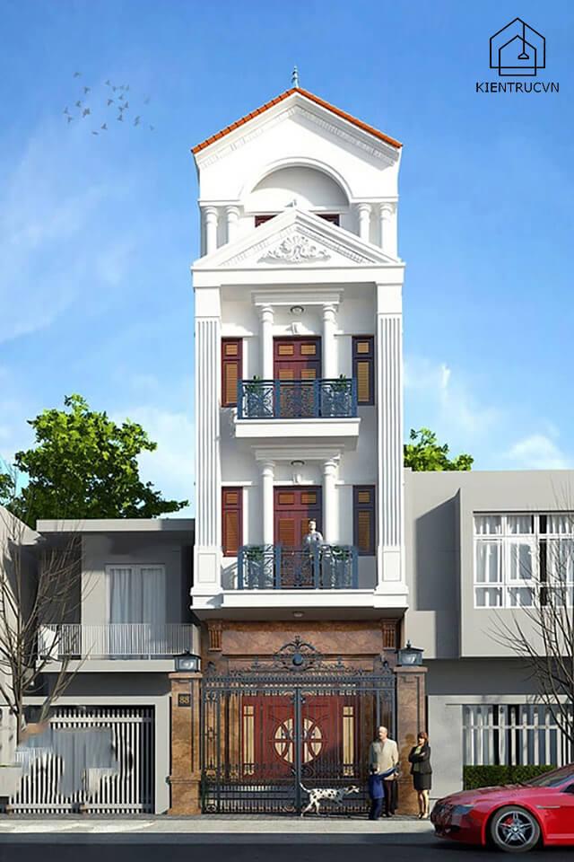 Nhà phố 4 tầng phong cách tân cổ điển