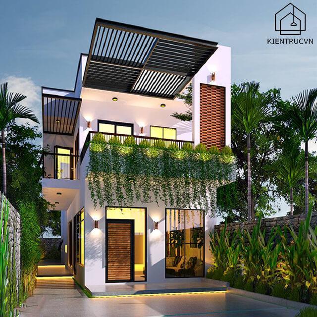 Thiết kế nhà phố 2 tầng với không gian thoáng đãng