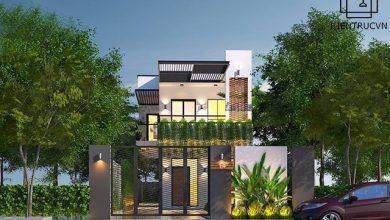 Tổng quan phối cảnh mẫu thiết kế nhà phố 2 tầng hiện đại