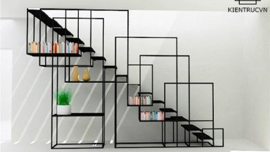 Vách trang trí cầu thang bằng sắt sơn tĩnh điện hiện đại phá vỡ mọi chuẩn mực