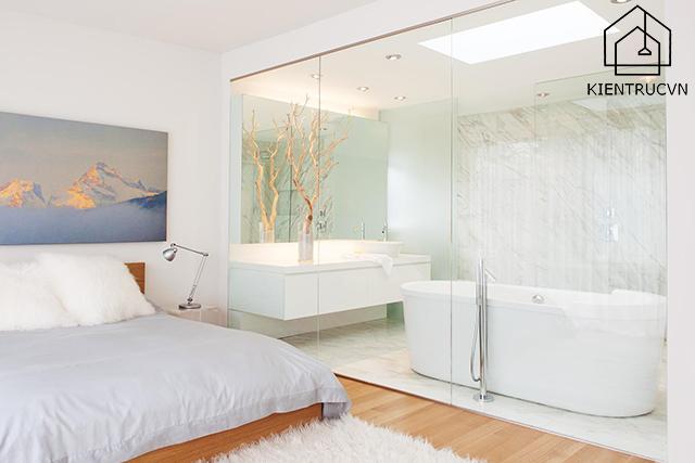 Ý tưởng thiết kế phòng tắm không gian mở trong phòng ngủ Master