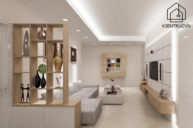 Đèn âm trần tạo nên không gian phòng khách ấm cúng