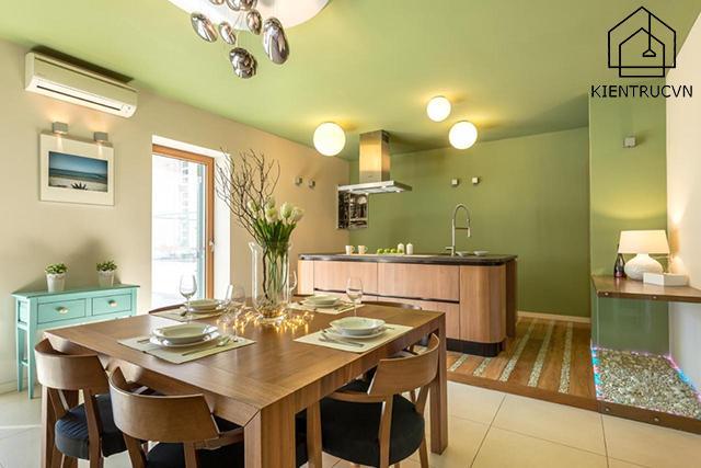 Trần nhà sơn màu lạnh mang đến một nguồn cảm hứng mới cho không gian chung cư
