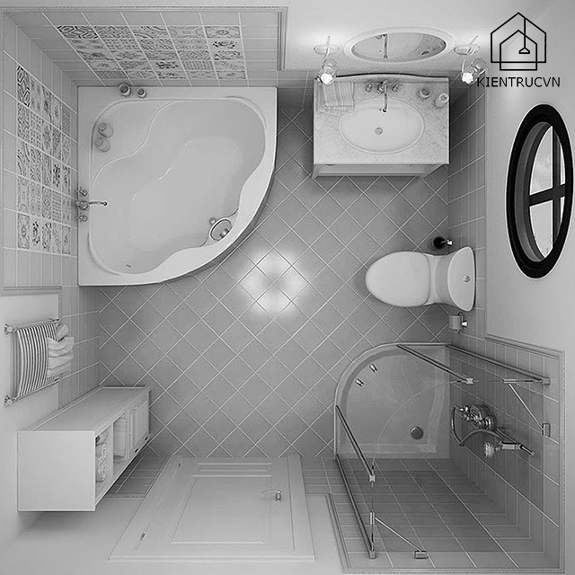 Với phòng tắm nhỏ, bạn hãy lựa chọn thiết bị cơ bản nhất