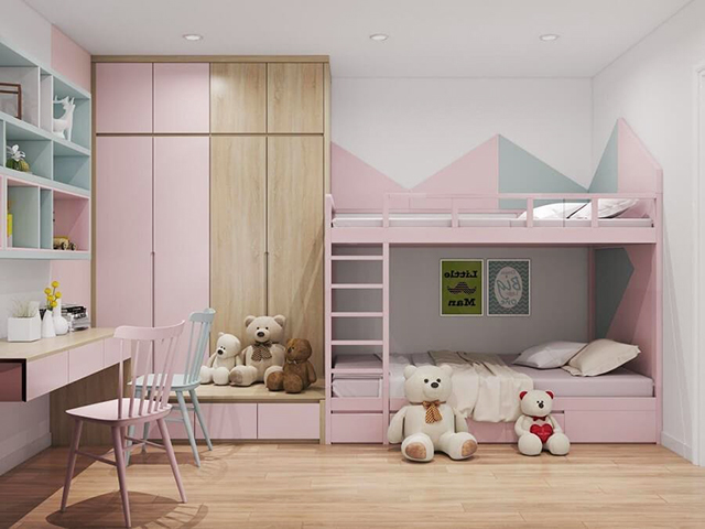 Phòng ngủ cho trẻ nhỏ không thể thiếu bàn học và hệ thống ánh sáng chất lượng
